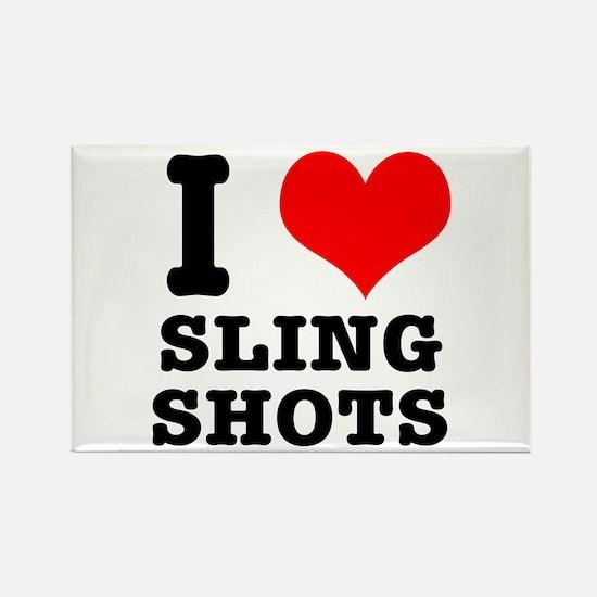 I Heart (Love) Sling Shots Rectangle Magnet