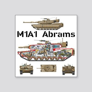 "M1A1 Abrams MBT Cutaway Square Sticker 3"" x 3"""