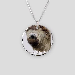Love Sloths T-shirt Necklace Circle Charm
