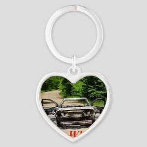 Burnt Car Heart Keychain