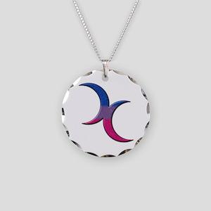 Crescent Moons Symbol - Bisexual Pride Flag Neckla