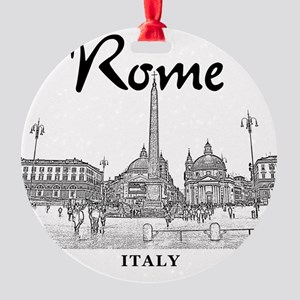 Rome_10x10_v1_Black_Piazza del Popo Round Ornament
