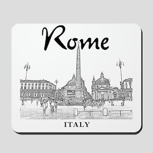 Rome_10x10_v1_Black_Piazza del Popolo Mousepad