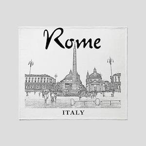 Rome_10x10_v1_Black_Piazza del Popol Throw Blanket