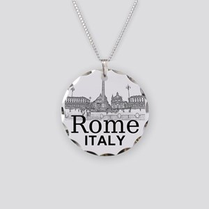 Rome_12X12_v1_Black_Piazza d Necklace Circle Charm