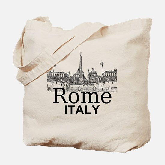 Rome_12X12_v1_Black_Piazza del Popolo Tote Bag