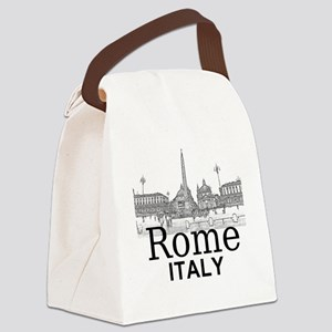 Rome_12X12_v1_Black_Piazza del Po Canvas Lunch Bag