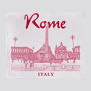 Rome_10x10_v1_Red_Piazza del Popolo Throw Blanket