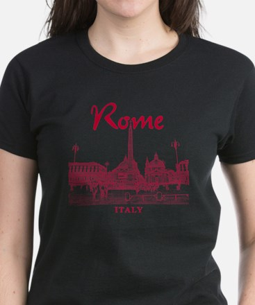 Rome_10x10_v1_Red_Piazza del  Women's Dark T-Shirt