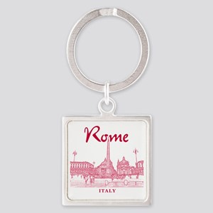 Rome_10x10_v1_Red_Piazza del Popol Square Keychain