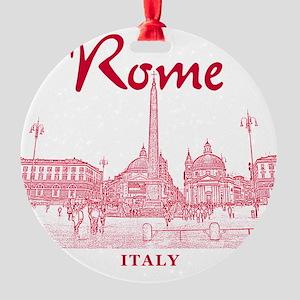 Rome_10x10_v1_Red_Piazza del Popolo Round Ornament