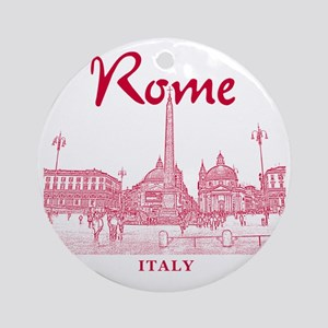Rome_10x10_v1_Red_Piazza del Popolo Round Ornament
