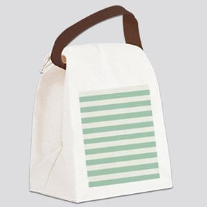 Mint and Cream Stripes Canvas Lunch Bag