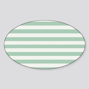 Mint and Cream Stripes Sticker (Oval)