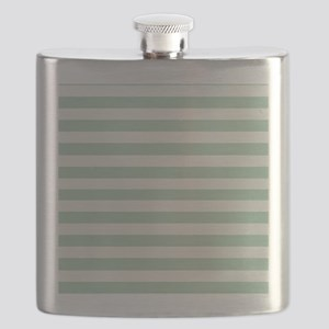 Mint and Cream Stripes Flask