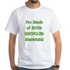 Made of 100% Recycled (green) White T-Shirt