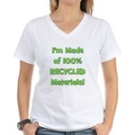 Made of 100% Recycled (green) Women's V-Neck T-Shi