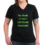 Made of 100% Recycled (green) Women's V-Neck Dark