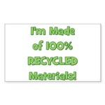 Made of 100% Recycled (green) Sticker (Rectangular