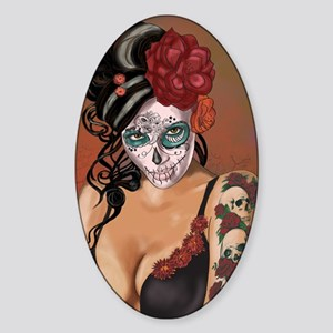 Skulls and Roses Muertos Sticker (Oval)
