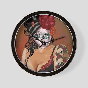 Skulls and Roses Muertos Wall Clock
