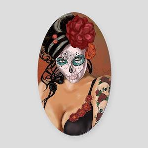 Skulls and Roses Muertos Oval Car Magnet