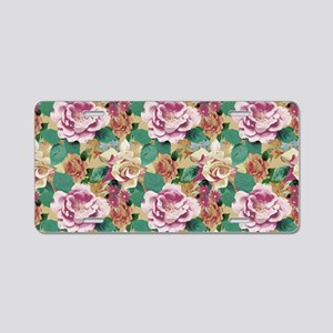 Faded Vintage Roses Aluminum License Plate