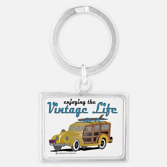 enjoying the vintage life Landscape Keychain