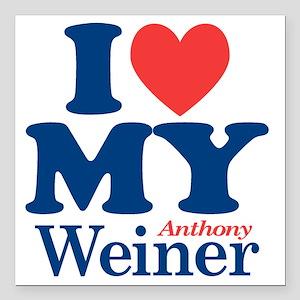 "I Love My Weiner Square Car Magnet 3"" x 3"""