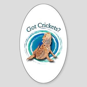 Bearded Dragon Got Crickets II Oval Sticker