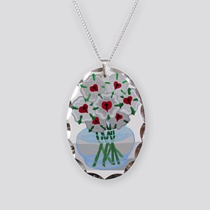 Luthers Roses in Vase Necklace Oval Charm