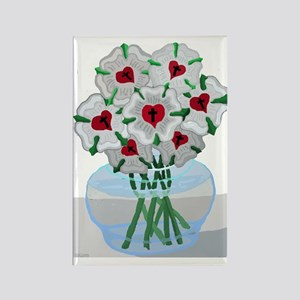 Luthers Roses in Vase Rectangle Magnet