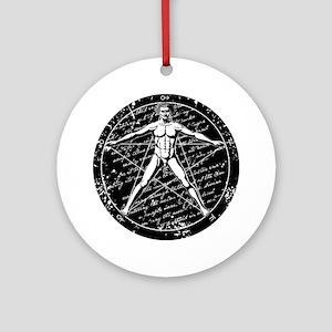 Agrippa Pentagram (black) No.1 Round Ornament