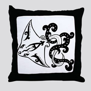 Manta Ray Black Throw Pillow