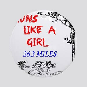 Runs Like A Girl 26.2 Round Ornament