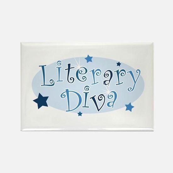 """Literary Diva"" [blue] Rectangle Magnet"