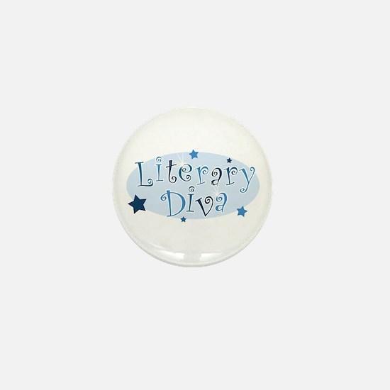 """""""Literary Diva"""" [blue] Mini Button"""