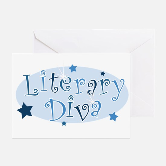 """""""Literary Diva"""" [blue] Greeting Cards (Package of"""