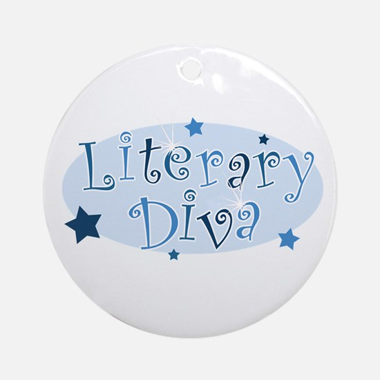 """Literary Diva"" [blue] Ornament (Round)"