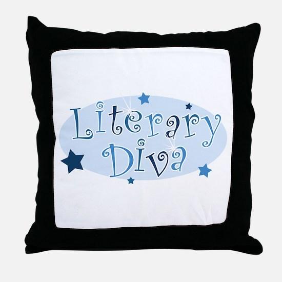 """Literary Diva"" [blue] Throw Pillow"