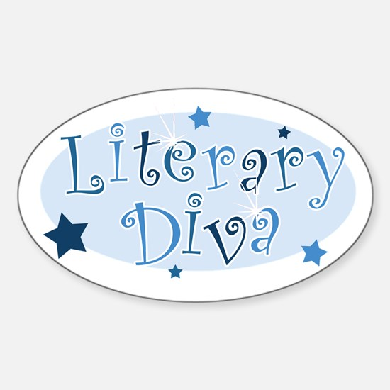 """""""Literary Diva"""" [blue] Oval Decal"""
