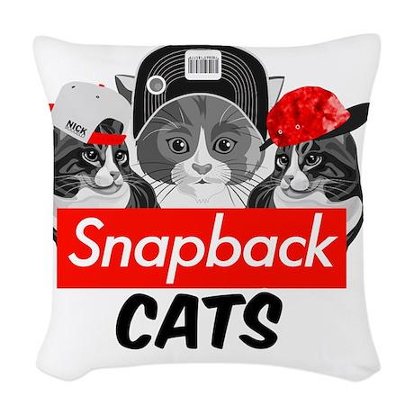Snapback Cats Woven Throw Pillow