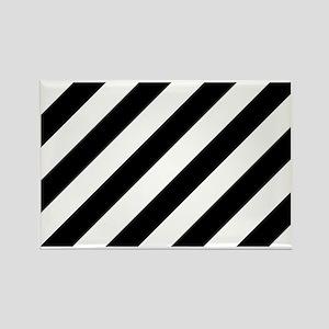 Black and White Diagonal Rectangle Magnet