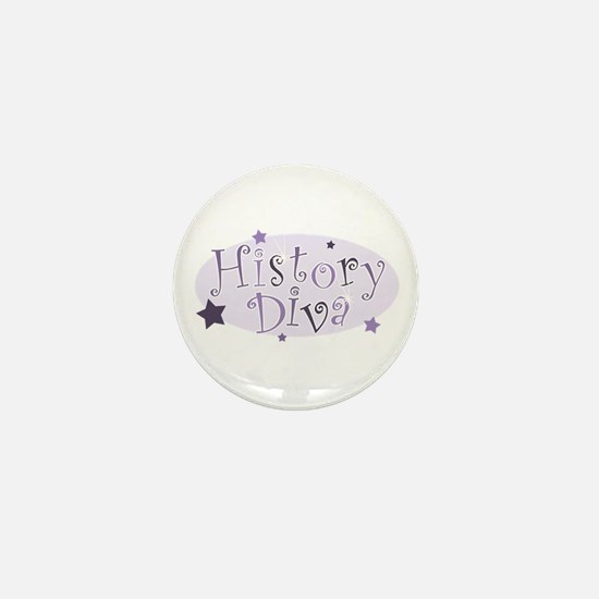 """History Diva"" [purple] Mini Button"
