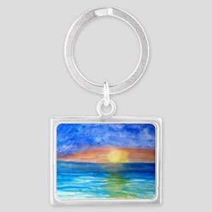 Ocean Beach Sunset Landscape Keychain