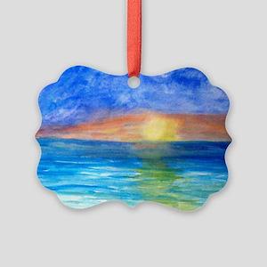 Ocean Beach Sunset Picture Ornament