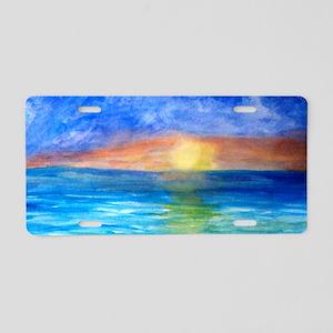 Ocean Beach Sunset Aluminum License Plate