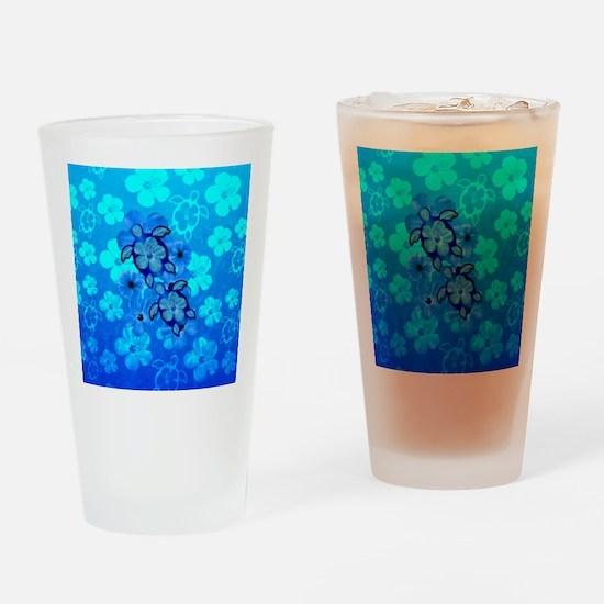 Blue Honu Hibiscus Drinking Glass