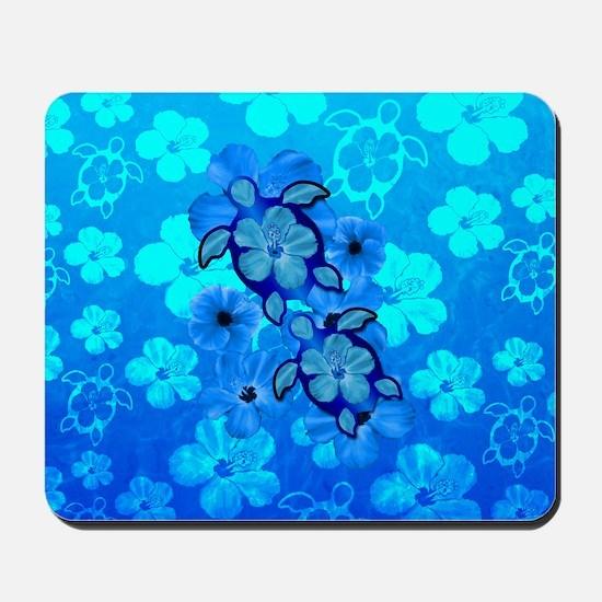 Blue Honu Hibiscus Mousepad