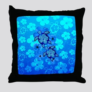 Blue Honu Hibiscus Throw Pillow